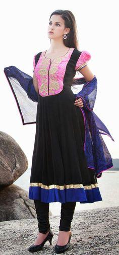 $131.76 Black Resham Work Silk Anarkali Salwar Kameez 26639