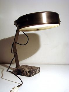 Anonymous; Brass, Enameled Metal and Marble Table Lamp by Chiarini, 1950s.
