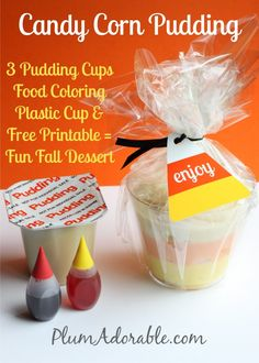 Easy Candy Corn Pudding & Free Printable  posted by Plum Adorable I thought it would be fun to make pudding cups that look like candy corn.  They were simple to make and the kids loved them!  Make them for a fall party or surprise your kids and put them in their lunch.