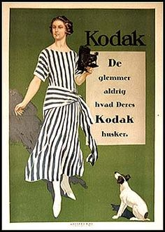 """French poster by R. LeLong with Danish slogan, """"You Never Forget What Your Kodak Remembers"""""""