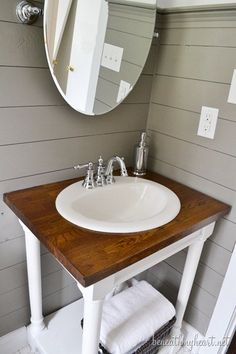 Like this faucet!! Waterhill by Moen...Guest Bathroom Makeover Reveal! | Beneath My Heart
