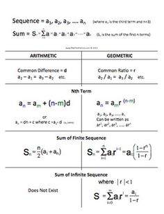 Printables Arithmetic Sequences And Series Worksheet arithmetic sequences and series practice my interactive notebook geometric sequence sum nth term cheat sheet foldable please download free preview create a or ju