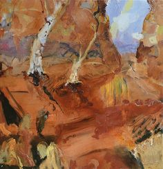 © Luke Sciberras ~ Heavitree Gap NT ~ 2013 oil on board at Tim Olsen Gallery Sydney Australia Contemporary Landscape, Urban Landscape, Abstract Landscape, Landscape Paintings, Abstract Art, Landscapes, Australian Painters, Australian Artists, Modern Art Artists