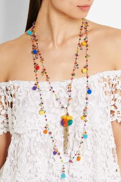 EXCLUSIVE AT NET-A-PORTER.COM. Rosantica's 'Cancun' necklace is a celebration of the colors and culture of South America. Handcrafted in Italy from gold-tone brass, this delicate multi-strand design is strung with vibrant quartz beads and playful pompoms. Coordinate yours with the matching earrings.