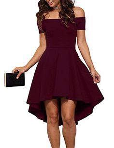 Evening Dress Womens Off the Shoulder Short Sleeve Summer Casual Dresses for Party Wine XL