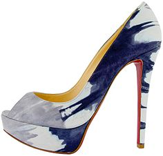 """Christian Louboutin Spring 2011 """"Banana"""" in blue; also in pink/nude."""