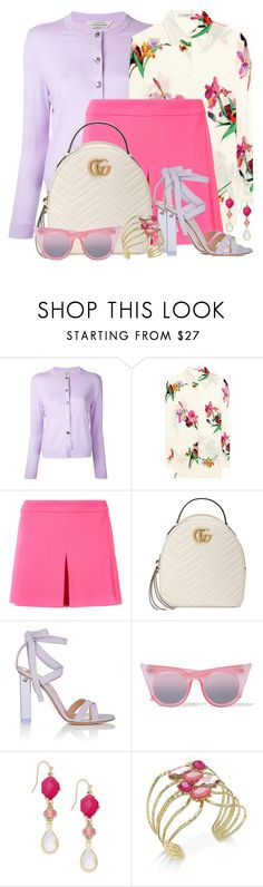 """""""Pleat Front Shorts & Crepe Floral Blouse"""" by brendariley-1 ❤ liked on Polyvore featuring Torrazzo Donna, Etro, Trina Turk, Gucci, Gianvito Rossi, Le Specs and INC International Concepts"""