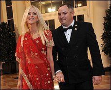 Virginia socialites Michaele, left, and Tareq Salahi at Tuesday's state dinner. The couple was not invited to the White House event.