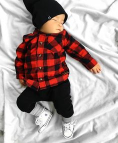 """9010401f14f89 BEAU HUDSON® on Instagram  """"Sweet dreams little buddy ❤ 💤👼🏼 Oscar is the  cutest little sleeper in our super comfy Buffalo Plaid Shirt + Panther  Bandit ..."""