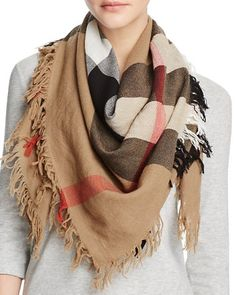 $Burberry Color Check Wool Scarf - Bloomingdale's