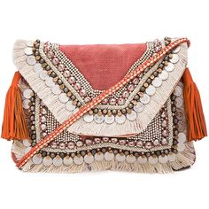 SHASHI Lella Clutch (1.179.300 IDR) ❤ liked on Polyvore featuring bags, handbags, clutches, sac, fringe clutches, shoulder strap handbags, woven purse, shashi and beaded purse