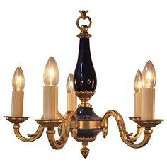 Bronze and Porcelain Chandelier - LU91362375602