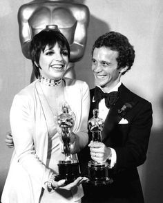 Liza Minnelli and Joel Gray with their Oscars for 'Cabaret', 1973.
