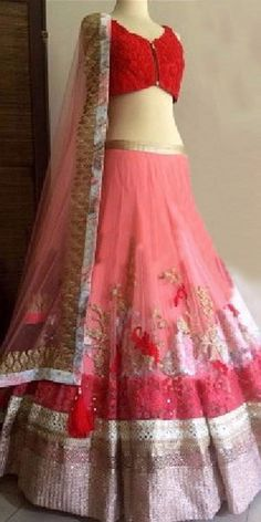 Ideal Red Net Designer Lehenga Choli With Dupatta.
