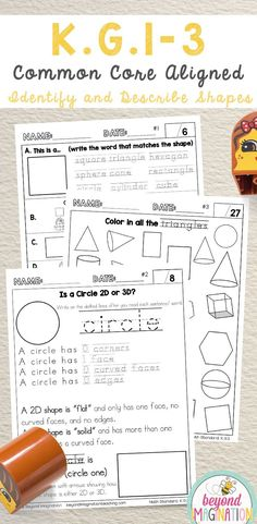 KG1 KG2 KG3 common core aligned worksheets for identifying and describing shapes. Common cores math centers. Math number activities for kindergarten. #tpt #math #common #core