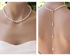 Perla nuevo Drop collar nupcial telón de fondo perla por JamJewels1