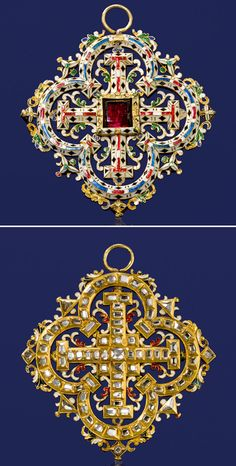 A Renaissance Revival garnet, diamond and enamel pendant, 3rd quarter, 19th century  the openwork quatrefoil pendant centering a square-shaped garnet within a surround of elaborate white, red, green, blue and black enamel; the reverse detailed throughout with table-cut diamonds; with fitted box signed Harvey  Gore, 4 Burlington Gardens, London; mounted in eighteen karat gold; dimensions: 2 5/8 x 2 3/4in.