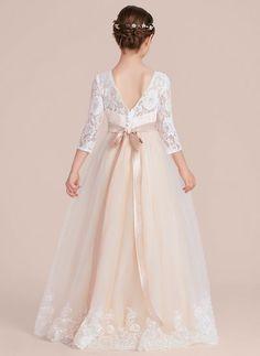 ebe8825bce47 Ball Gown Floor-length Flower Girl Dress - Tulle Charmeuse Lace 3