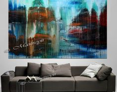 Large Wall Art Teal ABSTRACT PAINTING, Seascape with Beautiful Waterfall Nature Oil Painting by Maitreyii