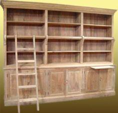 Boekenkast met ladder - De Teakhoeve