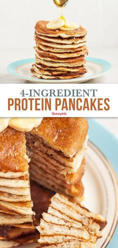 These 4 ingredient protein pancakes are easy and healthy enough for a weekday breakfast but they taste like the indulgent Saturday morning pancakes you love. Healthy Protein Breakfast, Protein Foods, Simple Protein Pancakes, Healthy Breakfasts, Healthy Snacks, 300 Calorie Breakfast, Breakfast Dishes, Ww Recipes, Low Calorie Recipes