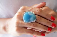 Larimar Ring, Natural Lagoon, Larimar Statement Jewelry for Women, US Size 8, Dominican Stone