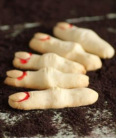 2014 Halloween finger food ideas with almonds as nail - desserts #2014 #Halloween