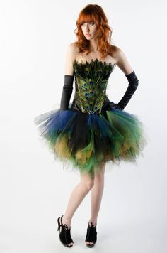 Custom Peacock Corset Dress Burlesque by MilaHoffmanCouture, $325.00