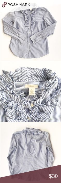 J. Crew ruffled button down blouse Blue and white striped button down from J. Crew, size 6. Features tons of frilly ruffled around neckline and buttons. Excellent condition. J. Crew Tops Button Down Shirts
