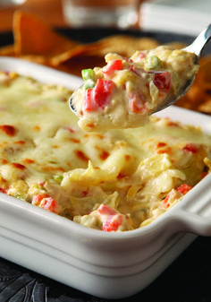 Hot Artichoke and Red Pepper Dip – Covered in melted mozzarella ...