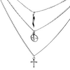 Conjoined Triple Chain Stainless Steel Cascading Necklace With Charms (20 in.) Stylejewelry http://www.amazon.com/dp/B009W8US7G/ref=cm_sw_r_pi_dp_uOiRtb065Y64V467