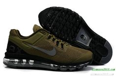 2013 Nike Air Maxes Mens Black Army Green For Sale 555363 309