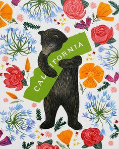 """I Love You California"" Botany Print. http://www.3fishstudios.com/collections/digital-prints"