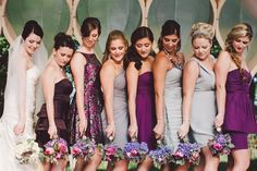 Our favorite look for bridesmaids? Coordinating, but not matching...  These bridesmaid dresses are all in the same color family, but different enough to add a little variety!