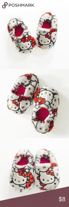 🌟30% Bundles🌟Hello Kitty Slippers ▫️Brand: Hello Kitty ▫️Size: 7-8 ▫️Material: Polyester ▫️Flaws: NONE  ▫️Description:  •Hello Kitty front graphic pattern •White, black & red  ▪️NO Trade/Hold ▪️Next Day Shipping ▪️Smoke Free/Kitty Friendly Home  ♦️Please ASK questions & READ descriptions before purchasing. Measurements are for guidance purposes only. I cannot guarantee fit♦️ Hello Kitty Shoes Slippers