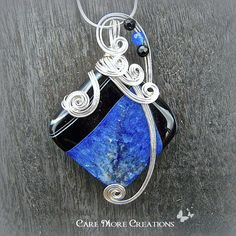 Indigo Blue Druzy Crystal Agate Wire Wrapped Pendant Necklace  by CareMoreCreations.com, $54.00 Made in Alaska, Made in USA.