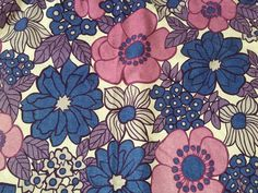 1970s M&S CURTAIN FUNKY BLUE & PURPLE FLOWERS L1.3m W1.7m RETRO FABRIC