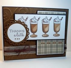 """Thanks A Latte"" card made with the Gina K. Designs ""Cool Beans"" stamp set."
