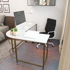 Modern L Shaped Desk, Modern Desk, L Shaped Office Desk, Modern Table, Home Office Design, Home Office Decor, Home Office White Desk, Small Bedroom Office, White Corner Desk