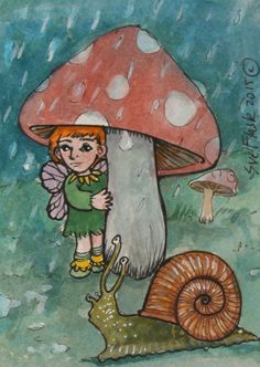 ACEO Original Gouache Fantasy Card Mushroom Art - The Umbrella by Sue Flask  #ACEOartcards
