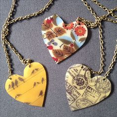 Fantastic homemade shrinky dink inspired heart necklaces by the very adorable and talented Ms Jonnie Estes from San Diego