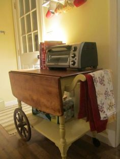 my rescued tea cart turned kitchen island :)