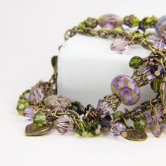 Mothers Day Easter Lampwork Crystal Olive Green by Thebracelettree