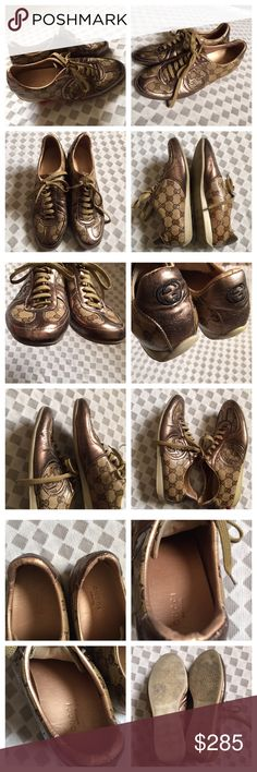 Authentic Gucci Sneakers Pre-Owned Authentic GUCCI Sneakers for women  - Multi-Colored Brown/gold. size 9. Shoe has a little peel as shown in photo #4. Other Minor imperfection from use as expected- see photos. Otherwise, pair is in mint condition. No box, no cover bag. NO TRADES. Gucci Shoes Sneakers