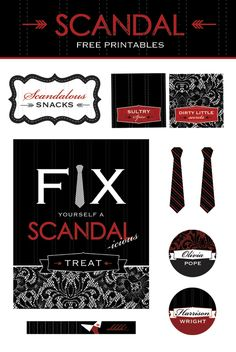 FREE Printables for Scandal TV Show Viewing Parties! #FreePrintables #Scandal #HWTM