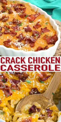 Cheesy Crack Chicken Casserole is the perfect dish to feed a large crowd. dinner recipes Cheesy Crack Chicken Casserole [Video] - Sweet and Savory Meals Healthy Chicken Recipes, Seafood Recipes, Crockpot Recipes, Cooking Recipes, Recipes With Leftover Chicken, Quick Food Recipes, Easy Comfort Food Recipes, Cubed Chicken Recipes, Easy Hamburger Meat Recipes