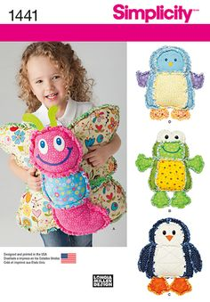 Simplicity - S1441 Rag Quilted Animal Pillows - WeaverDee.com Sewing & Crafts - 1