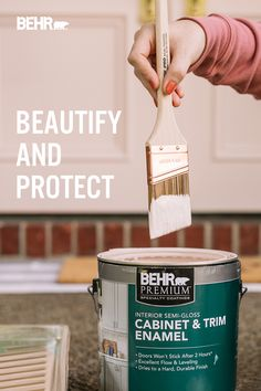 Beautify and protect your interior surfaces with fast-drying BEHR Premium® Interior Cabinet & Trim Enamel. Perfect for kitchen and bathroom cabinets and doors, windows, trim & molding. Wherever you plan to DIY, you are sure to make a statement. Click below to learn more. Featured color: Seaside Villa S190-1