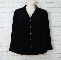 Womens Plus FASHION BUG Black Button Front Casual Career Blouse Top Size 22W-24W #FashionBug #ButtonDownShirt #CareerCasual