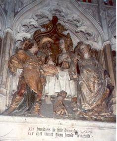 Johannes de Doper.. 1531. Steensculptuur kooromgang. Frankrijk, Armiens, kathedraal Notre Dame. Dans van Herodias' dochter Salome (Marcus 6, 22).
